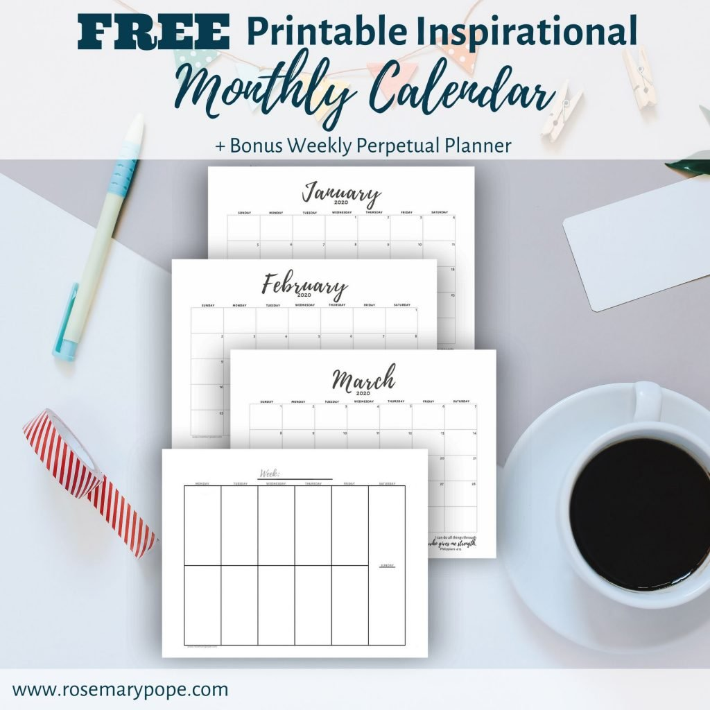 free printable inspirational monthly calendar