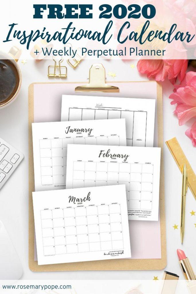 free 2020 inspirational calendar weekly perpetual planner