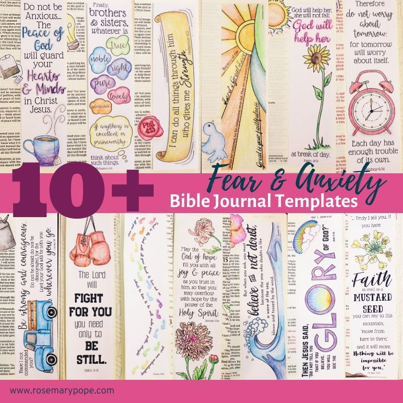 bible journal printable templates fear anxiety
